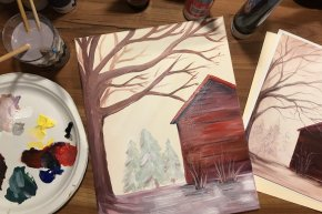 Sip and Paint a Winter Barn